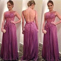Wholesale Dreess Woman - Purple Backless Prom Dresses Long A Line Sheer Neckline Sexy Formal Evening Gowns Women Wear With Sequins Appliques Pleats Cocktail Dreess