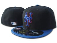 Wholesale field piece - Free Shipping One Piece Mets Classic Team Blue Black Color On Field Baseball Fitted Hats Fashion Hip Hop Sport Mets Full Closed Design Caps