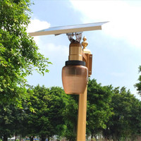Wholesale Outdoor Lamp Shades - Newest Golden Color Remote Control Time Setting 10W Solar Panel Powered LED Street Light Outdoor Garden Park Countyard Wall Lamp apple shade