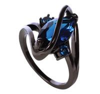 ingrosso uomini anello zaffiro nero-New Fashion Summer Oval Crossed Sapphire Anello femminile Black Gold Filled Jewelry Vintage Anelli di nozze per le donne Uomini MN