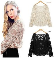 Wholesale Semi Sheer Sleeve Embroidery - 2016 Spring Sexy Women Blouses Lace Blousas Lady Semi Sheer Women Long Sleeve Embroidery Floral Lace Shirts Blouses