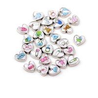 Wholesale Wholesale Silver Baby Charms - 20pcs lot mix Heart shape baby floating charms for glass locket