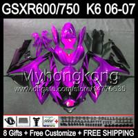 Wholesale Suzuki Gsxr Fairing K6 - 8gifts Bodywork For SUZUKI GSXR600 06 07 GSX R750 R600 06-07 gloss purple 8MY193 GSXR-600 GSXR750 K6 GSXR 750 600 2006 2007 Fairing black