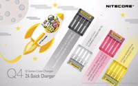 tek yuvalı şarj cihazı toptan satış-Authenti Nitecore Q4 2A Hızlı Şarj Cihazı 4 slot IMR ve Li-ion piller için tek bir yuvada 2000mA Şarj Cihazı vs Nitecore Q2 Şarj Cihazı
