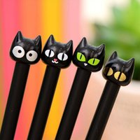 Wholesale animal ink pens - Wholesale-8pcs  set Cute Kawaii Lovely Cartoon Animal Black Cat Gel Pen 0.38 MM Rollerball Pen Novel Stationery For Students