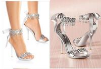 moda elmas taklidi toptan satış-Ew moda düğün ayakkabı gümüş Rhinestone Yüksek topuklu kadın Ayakkabı düğün gelin ayakkabıları sandal Gelin Ayakkabıları