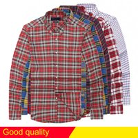 Wholesale men clothes usa - Livraison gratuite plaid lapel men's long sleeved Cotton Shirt Men USA Brand POLO Shirts 100% Oxford Casual Shirt Small Horse Clothes