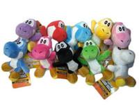 "Wholesale Mario Keychain Yoshi - Super Mario Bros Yoshi Plush Anime 4"" Keychain colors Plush doll Dinosaur Dragon Plush Toys Stuffed Dolls Kids Toys Animals free shipping"