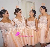 Wholesale Light Peach Capped Sleeve Dresses - 2016 Short Peach Bridesmaid Dresses Four Styles Long Sleeves 3D-Floral Appliques Tulle Plus Size Backless Knee Length Maid of Honor Gowns