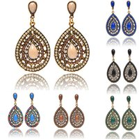 Wholesale vintage beaded chandelier - Bohemia Water Drop Dangle Earrings For Women Ladies Europe Vintage Gemstone Beaded Earring Party Jewelry Accessories