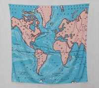 Wholesale Decor Wallpaper World - Blue World Map Tapestry Wall Hanging Tapestry Fabric Home Decor Wallpaper Polyester Picnic Cloth Table Cloth Curtain Cloth 148x200cm