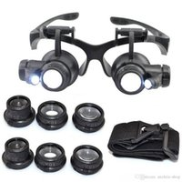 Wholesale Magnifying Lens Led - Hot 10X 15X 20X 25X magnifying Glass Double LED Lights Eye Glasses Lens Magnifier Loupe Jeweler Watch Repair Tools glitter2008