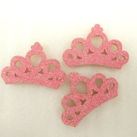 Wholesale Hair Accessories Materials - 100Y45352 45*30mm glitter crown hair accessories 100 pieces, DIY handmade materials, wedding gift wrap