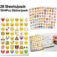 Wholesale Cutting Sticker Decor - 28sheets pack 1344pcs Emoji Smile Face Children Play Cut Stickers Phone Shell Paper Notes Decor Stickers