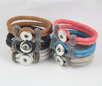 Wholesale Removable Plates - Snap Button Bracelets For Women Men Removable NOOSA chunks PU Leather Braided Bracelets Fit 18mm Noosa ginger snaps interchangeable jewelry