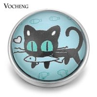 Wholesale Eat Cats - VOCHENG NOOSA Wholesale Glass Ginger Snap Charms 18mm Cat Eat Fish Lovely Button Jewelry Vn-1360