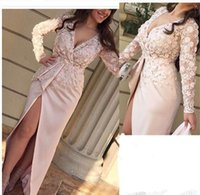 Wholesale 3d Picture Shirt - 2017 Pink Sheath Evening Dresses with Side Split Vestidos Plunging V Neck Sheer Long Sleeves 3D Appliques Handmade Flowers Party Prom Gowns