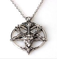 Wholesale Pentagram Metal - 2016new Baphomet Inverted Pentagram Goat Head Pendant Necklace Baphomet LaVeyan LaVey Satanism Occult Metal Pendant