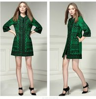 Wholesale Mini Vestidos Lycra - Fall Winter NEW Runway Women Designer Retro Ethnic Floral Embroidery Long Sleeve Elegant Mini Dress Vestidos