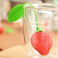 Silicone all'ingrosso forma di fragola Tea Leaf Bag Punch Filter Infusore colino Strainer H2010227