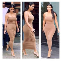 Wholesale Casual Tube Tops - Sexy Women Strapless Slim Stretch Bodycon Party Cocktail Club Tube Midi Dress Tube Top Dresses Collar
