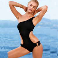 Wholesale One Piece Swimsuits Underwire - Retro Summer Womens Push Up One Piece Underwire Swimsuit for Girl Beachwear High Waist Brand Swimwear Black Red Bating Suit Solid