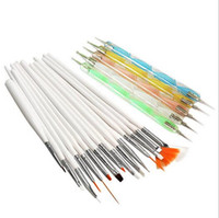Wholesale art paintings for sale - Group buy 20pcs Nail Art Design Brushes Kit Brand New Nail Gel Polish Art Styling Acrylic Brush Set Nail Art Salon Painting Dotting Pen Tools