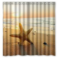 Starfish Sea Star Shell Design Cortina de chuveiro Tamanho 180 x 180 cm Custom Waterproof Polyester Fabric Bath Shower Curtains