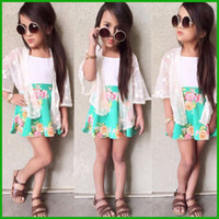 Wholesale Lace Denim Toddler Dress - 2016 lovely Fashion Kids Girl Dress Toddler Princess Party Tutu Summer vestidos Floral Dress + Tippet factory killing price free shipping