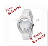 Wholesale Super Slim Watches - free hk shipping _Absolute luxury New Ladies Super Slim White Ceramica Chronograph Watch AR1426 1426 Women Wristwatch +original box