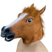 ingrosso maschera di cavallo nera-All'ingrosso-Horse Head Mask Creepy Halloween Party Costume di pelliccia Mane in lattice realistico maschera testa piena marrone nero