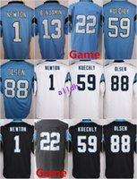 Wholesale Game Cams - 2017 2018 Game 1 Cam Newton 13 Kelvin Benjamin 88 Greg Olsen 59 Luke Kuechly Christian 22 McCaffrey Black Blue White Stitched Jersey