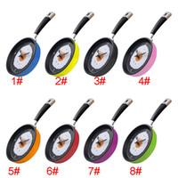 Wholesale Eggs Pan Wall Clock - 2017 New Omelette Pan Clock Fry Pan Kitchen Fried Egg Design Wall Clock Home Decor Free Shipping XL-209