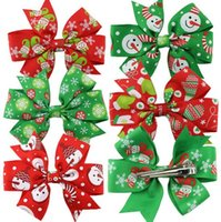 Wholesale Christmas Hair Bows For Babies - New Style Christmas Hair Ornaments Children Bow Hair Clips Baby Girls Barrettes Headdress for Kids Gift Wholesale Free Shipping