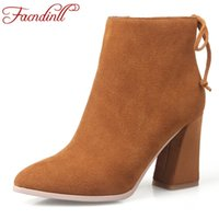 Wholesale High Heel Winter Boots Sale - Hot sale women shoes ankle boots band designer boots Hoof high heel fashion women party shoes black autumn winter boots size 42