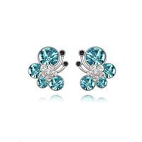 Wholesale Kids Butterfly Earrings - Kids Jewelry 18K White Gold Plated Cute Butterfly Blue Gem Crystal Stud Earrings for Children Girls Wholesales