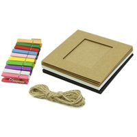 Wholesale Photo Albums Box Sets - New 10Pcs 3Inch Paper Photo Flim DIY Wall Picture Hanging Frame Album+Rope+Clips Set For Beauty Tool
