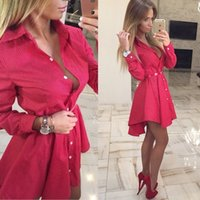 Wholesale Dovetail Shirts - New 2016 Autumn Party Dovetail Shirt Dresses Women Lapel Neck Long Sleeve Single-breasted Slim Trendy Fashion Clothing Brand Style S-XL