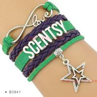 Wholesale Suede Bracelets - Infinity Love Scentsy Double Stars Bracelets Silver Suede Green Purple Women Men Lady Girl Jewelry Gift Red Custom Drop Shipping