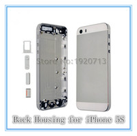 Wholesale Gold Iphone Mid Frame - AAA Silver Complete Housing Back white gold Battery Door Cover Mid Frame Assembly for iPhone 5S