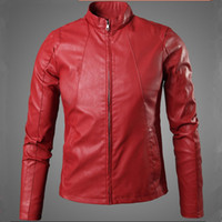 Wholesale Faux Fur Suede Jackets - New Cool Design Red Faux Leather Jacket fashion Men Motorcycle Biker Jacket Suede Slim Windproof Coat Jaqueta Couro Masculina