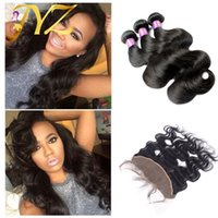 Wholesale Malaysian Hair Tied Weft - Wholesale Price Brazilian Human Hair Bundles 3Pcs With Hand Tied 13x4 Lace Frontal Baby Hair Natural Hair Line Peruvian Human Hair Weaves
