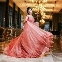 Hot Coral Lace Brautkleider Jewel A Line Sheer Neck Brautkleider Bling Bling Shinny Arabische Lady Formal Gowns