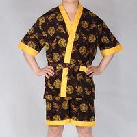 Wholesale Home Wear Pajamas Sleepwear - Wholesale-New Arrival Chinese Dragon Embroidery Sleepwear Set Summer Men Robes Sets Faux Silk Home Wear Man Bath Gown Pajamas