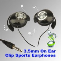 Wholesale Clip Ear Wires - Top Selling Clip On Earphones Sports Standard 3.5mm Stereo Headphones for ipod MP3 MP4 PSP headphone gold