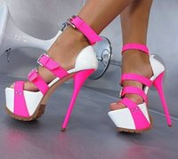 Wholesale Cheap Hot Pink High Heels - 2016 Women Sandals High Thin Heels Buckle Strap Cheap Modest Plus Size US4-US15 Pink White Color Fashion Party Shoes Hot Sale