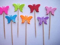 Wholesale Cheap Butterfly Cake Toppers - cheap Butterfly Party Picks - Cupcake Toppers - Toothpicks - Food Pick wedding baby shower birthday party favors