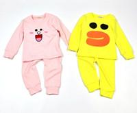 Wholesale Boy Cashmere Shirt - Boys Girls Baby Childrens Clothing Sets Cartoon Cashmere Pajamas Long Sleeve T-shirts Pants Set Home Kids Clothes Suits Wholesale