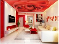 Wholesale Red Murals - 3d wallpaper custom photo non-woven picture The red rose flower 3d wall murals wallpaper ceiling room decoration painting