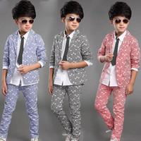 Wholesale Boys Blazer Blue 12 - Boys Blazer Kids Wedding Clothes 2016 New Elegant Suits Children For Wedding Boy Suits Jacket Pants 1 Set Boys Blazers Kids